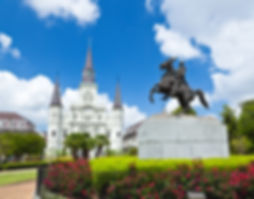 Saint Louis Cathedral and statue of Andr