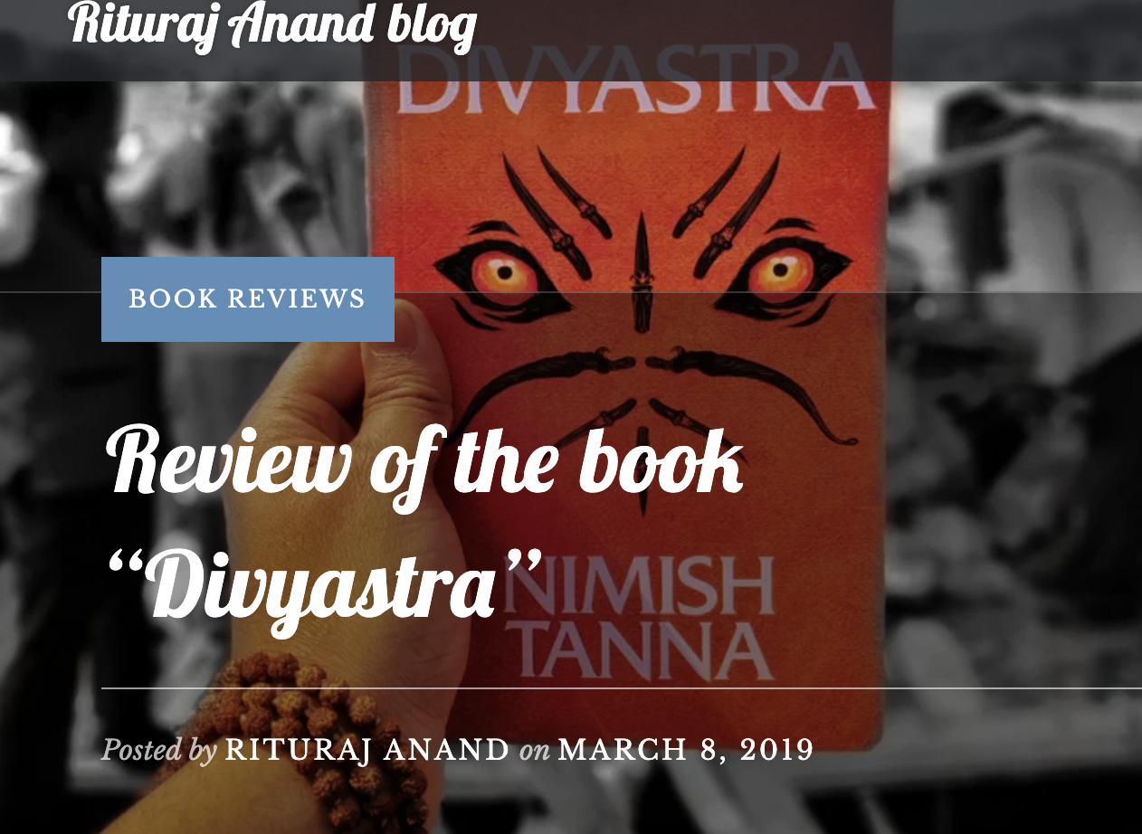 Book review of Divyastra by blogger Rituraj Anand