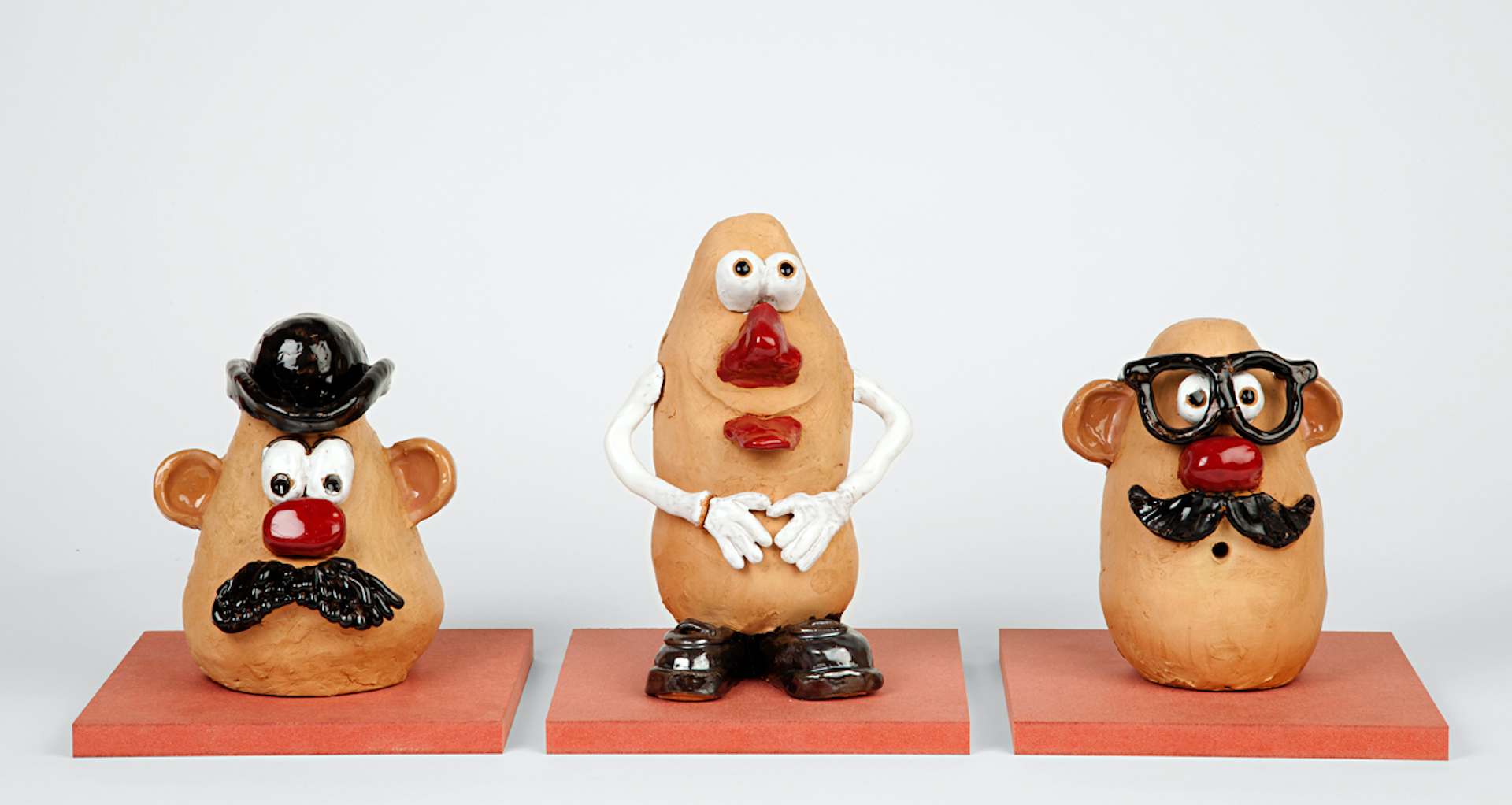 MISTER POTATO HEADS, glazed ceramic, 2012.