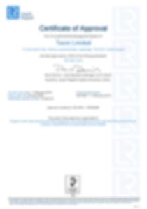 2018-10-25 TECNI Ltd ISO 9001 Certificat