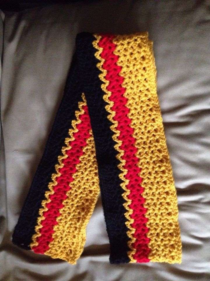 Gold, Black and Red Scarf