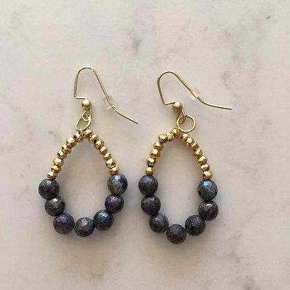 Metallic Grey Bead Circle Earring