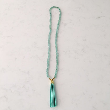 Light Mint Tassel Necklace