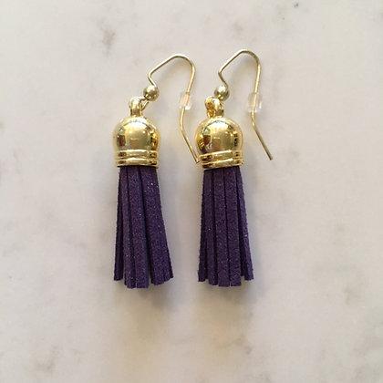 Dark Purple Short Tassel Earring