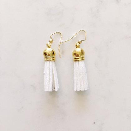 White Short Tassel Earring
