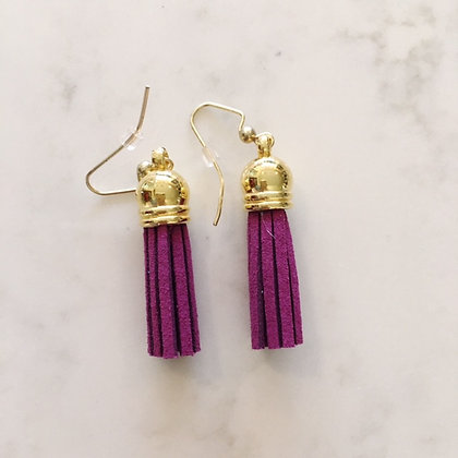 Orchid Purple Short Tassel Earring