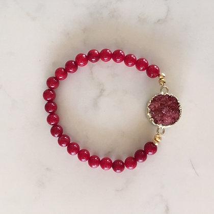 Red Druzy Agate Bracelet
