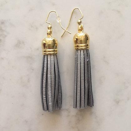 Silver Medium Tassel Earring