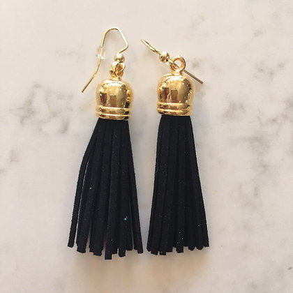 Black Medium Tassel Earring