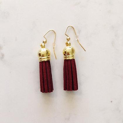 Maroon Short Tassel Earring
