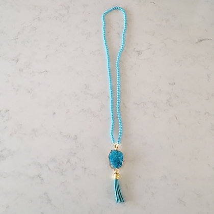 Turquoise Druzy Agate and Tassel Necklace
