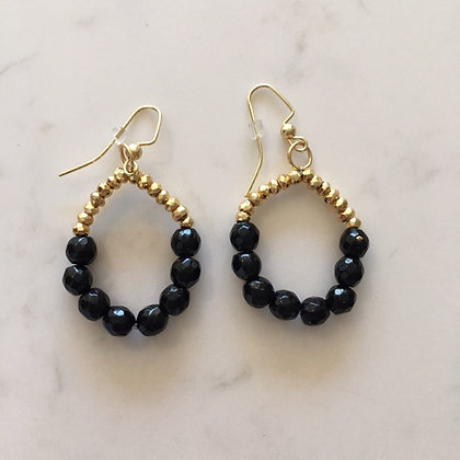 Black Bead Circle Earring