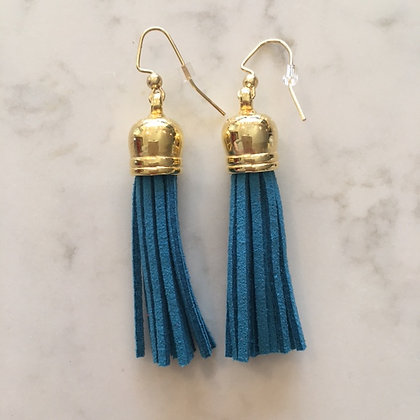 Dark Turquoise Medium Tassel Earring