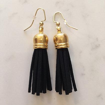 Black Mid Tassel Earring