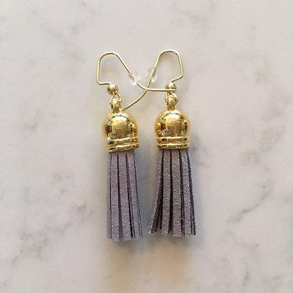 Light Grey Short Tassel Earring
