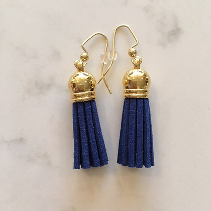 Dark Blue Short Tassel Earring