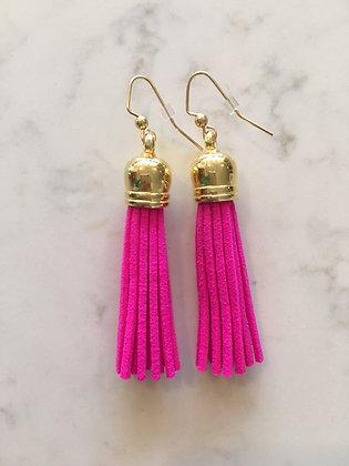 Hot Pink Medium Tassel Earring