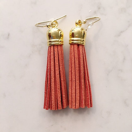 Burnt Orange Medium Tassel Earring