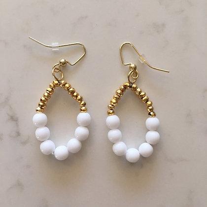 White Bead Circle Earring