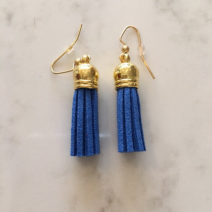 Blue Short Tassel Earring
