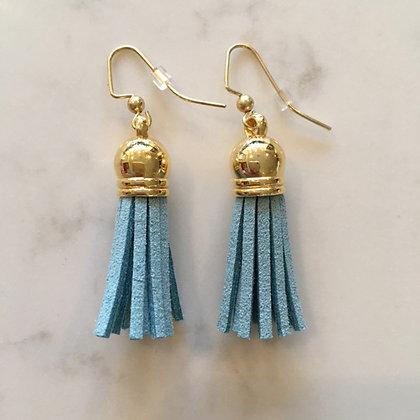 Dusty Blue Short Tassel Earring
