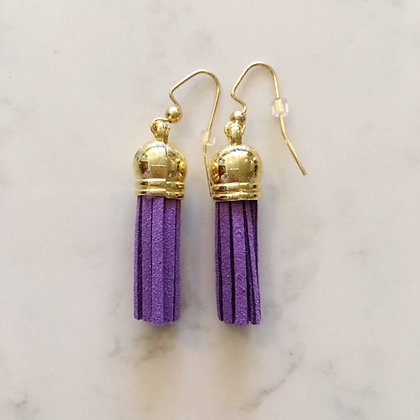 Purple Short Tassel Earring