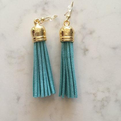 Aqua Medium Tassel Earring