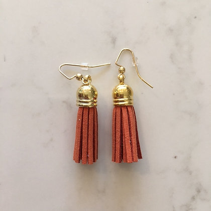 Burnt Orange Short Tassel Earring