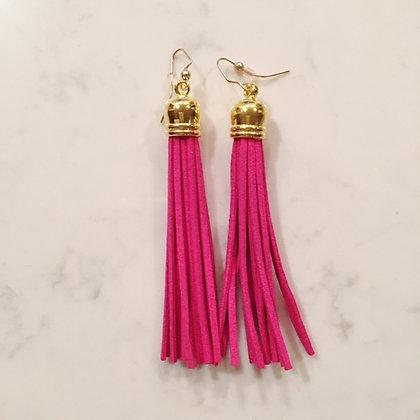 Pink Tassel Earring