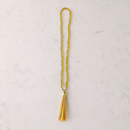Dark Yellow and Marigold Tassel Necklace