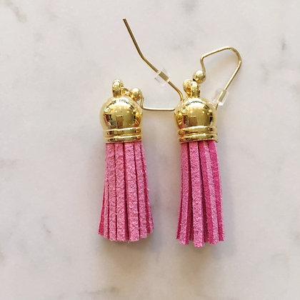 Rosey Pink Short Tassel Earring