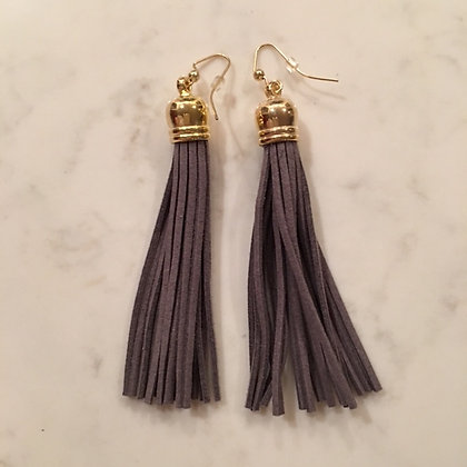 Dark Gray Tassel Earring