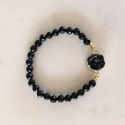 Black Druzy Agate Bracelet