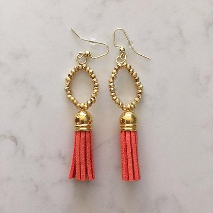 Orange Circle Earring