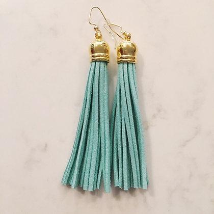 Aqua Tassel Earring