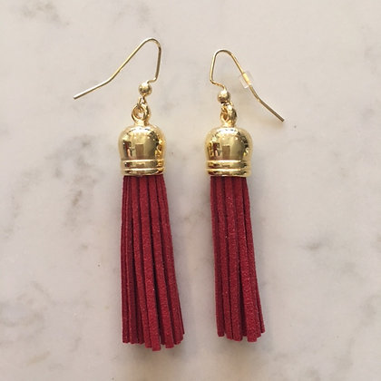Red Medium Tassel Earring