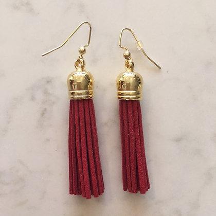 Red Medium Tassel Earring