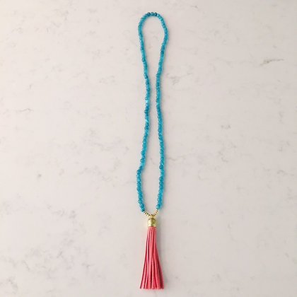 Turquoise and Coral Tassel Necklace