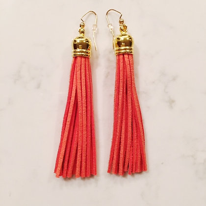 Orange Tassel Earring