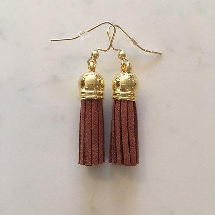 Cognac Short Tassel Earring