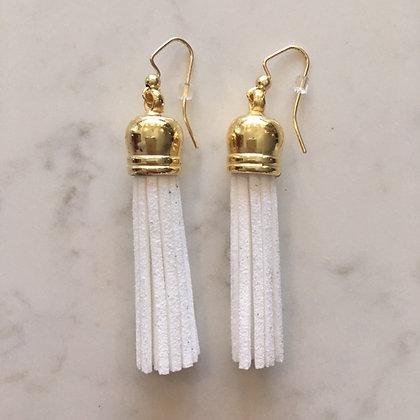 White Medium Tassel Earring