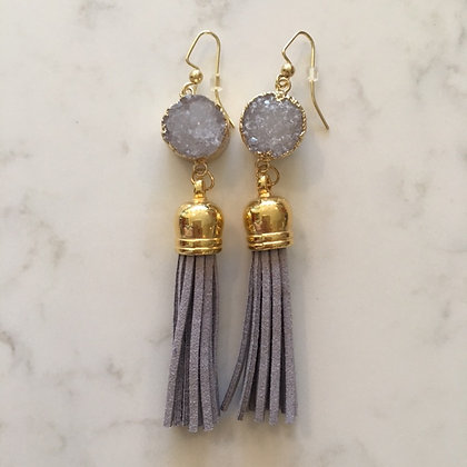 Grey Druzy and Tassel Earring