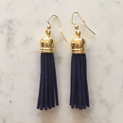Navy Medium Tassel Earring