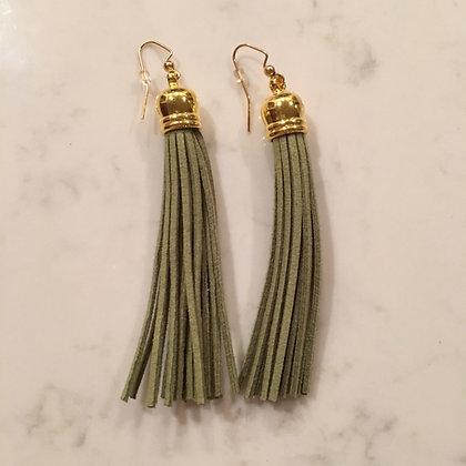 Olive Green Tassel Earring