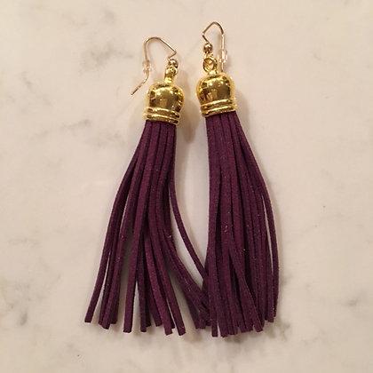 Eggplant Purple Tassel Earring