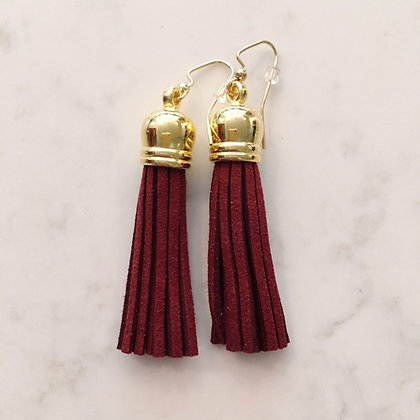 Maroon Medium Tassel Earring