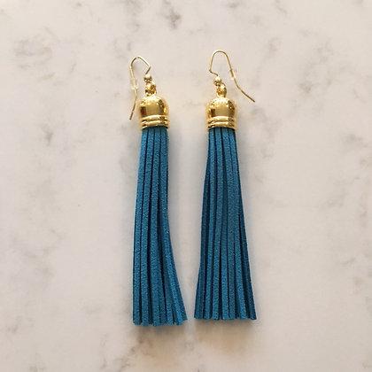 Dark Turquoise Tassel Earring