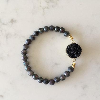 Metallic Gray and Black Druzy Agate Bracelet