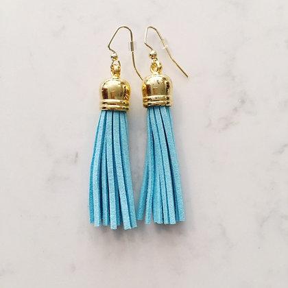 Light Blue Medium Tassel Earring