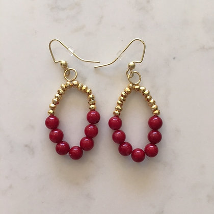 Red Bead Circle Earring